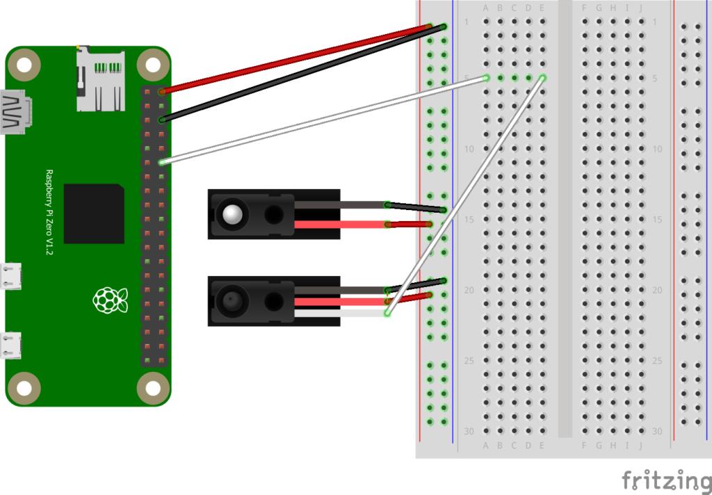 Schemat przykładowego podłączenia czujnika przerwania wiązki do Raspberry Pi