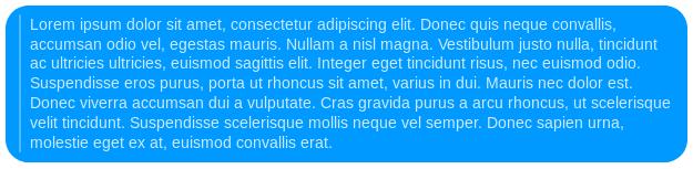Bąbelek wiadomości z komunikatora Messenger przedstawiający sposób formatowania cytatu.