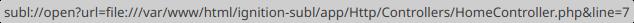 Adres URL zawierający protokół subl://, wyświetlający się w przeglądarce Mozilla Firefox po najechaniu na ikonę ołówka.