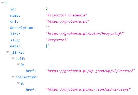 Odpowiedź z REST API WordPressa w formacie JSON zawierająca informacje o użytkowniku
