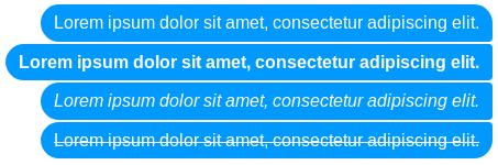 Cztery bąbelki wiadomości z komunikatora Messenger, które ukazują porównanie podstawowego tekstu z pogrubionym, napisanym kursywą i przekreślonym tekstem.
