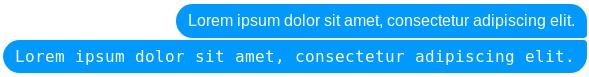 Dwa bąbelki wiadomości z komunikatora Messenger, które ukazują porównanie podstawowego tekstu z preformatowanym tekstem.